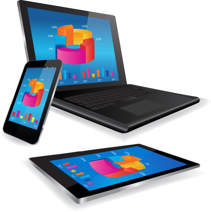 Laptop Tablet and Smart Phone with business graph